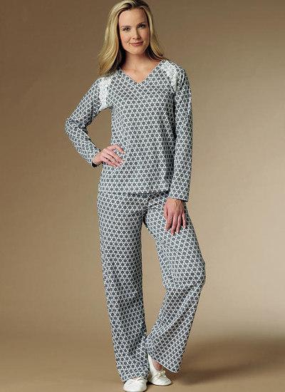 Nattøj, natkjole, pyjamassæt, raglanærmer