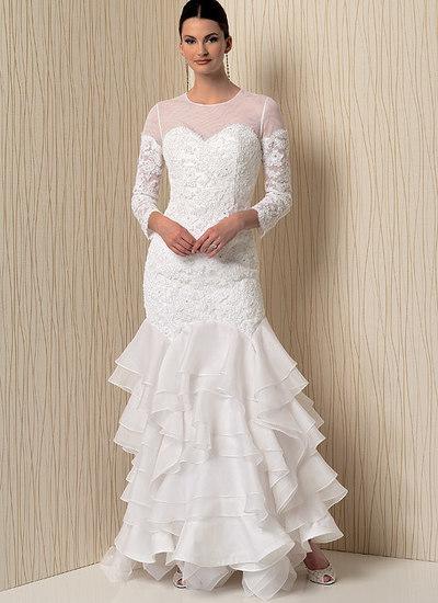 Sweetheart-halsudskæring kjoler med flæser