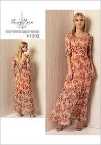 Kjole med v-udskæring i ryg og detaljer -Tracy Reese. Vogue 1502.