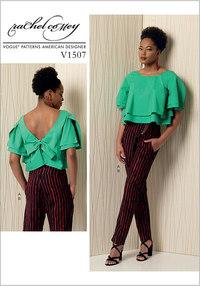 Top med lag, knude bagpå, bukser - Rachel Comey. Vogue 1507.