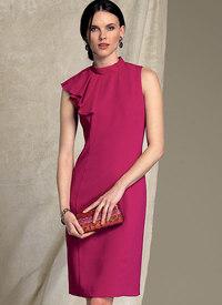 Kjole med asymmetrisk drapering - Badgley Mischka. Vogue 1513.