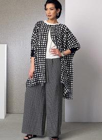 Ponchos, plisseret top, shorts og slå-om bukser med vidde. Vogue 9191.