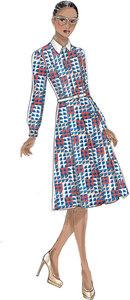 Inverteret-læg skjortekjoler. Vogue 9201.