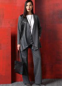 Figursyet søm-jakke og vest, top, kjole, bukser og nederdel. Vogue 9215.