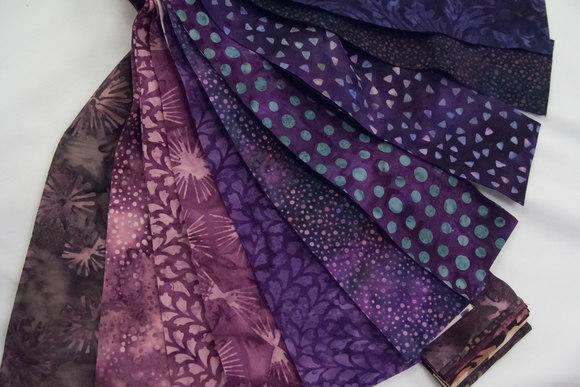 Bali poppy batik strimler - lilla farver napa