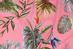 Bengalin-stretch i lyserød med store blade