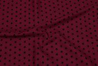 Bordeaux bomuld med 1 cm sorte stjerner