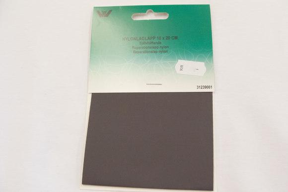 Grå nylon reparationslap 10 x 20 cm