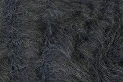 Langhåret pelsstof i mørk meleret grå