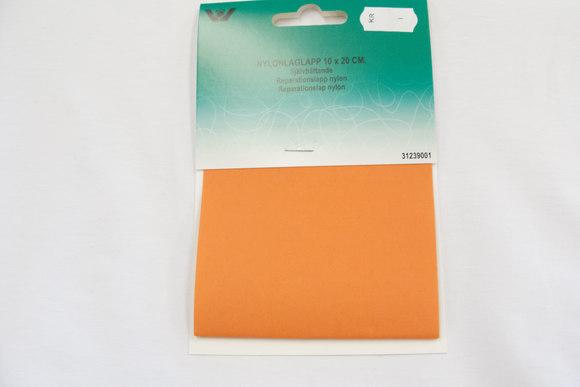 Orange nylon reparationslap 10 x 20 cm