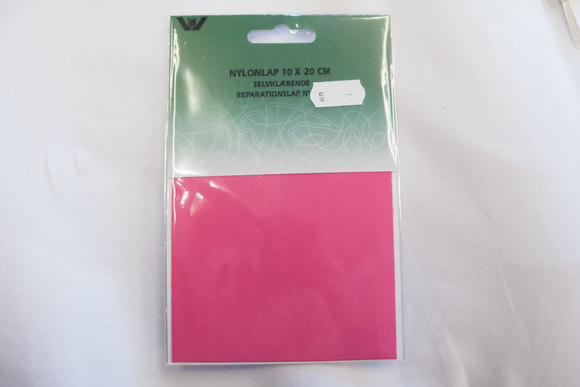 Pink nylon reparationslap 10 x 20 cm