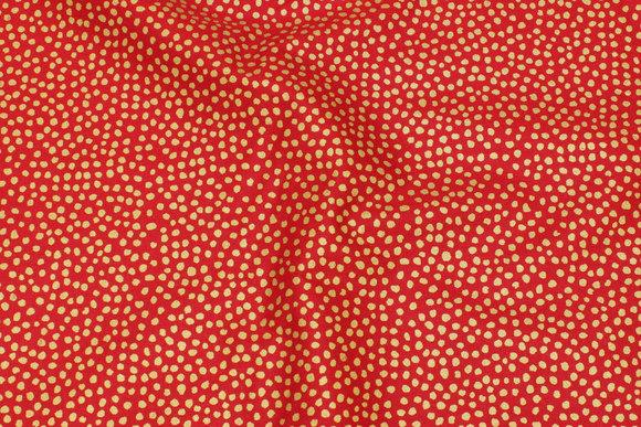 Rød julebomuld med guldprikker