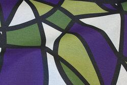 Textildug i grøn og hvid og lilla