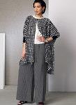 Vogue 9191. Ponchos, plisseret top, shorts og slå-om bukser med vidde.