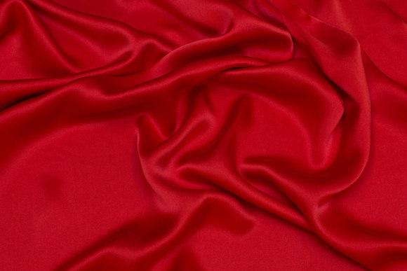 Superflot, klar rød, sandvasket silke