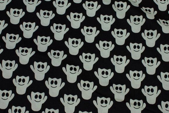 Sort bomuld med lysegrå spøgelser
