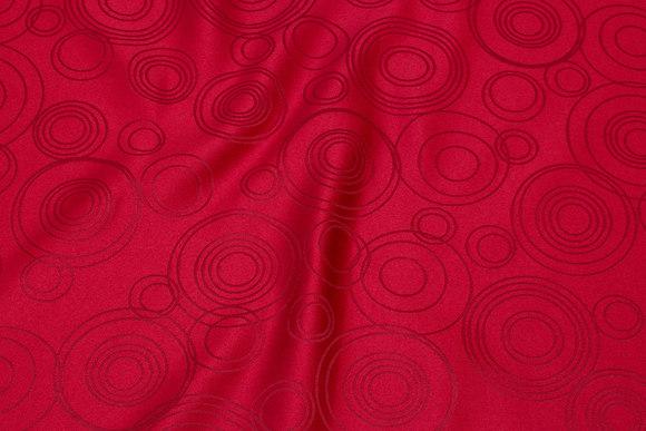 Rød polyester jacquard til duge m.m.