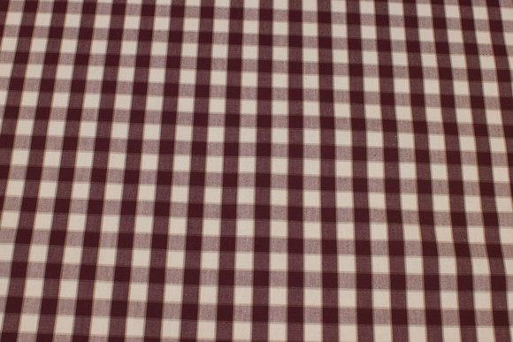 Coated textildug med bordeaux og hvide tern