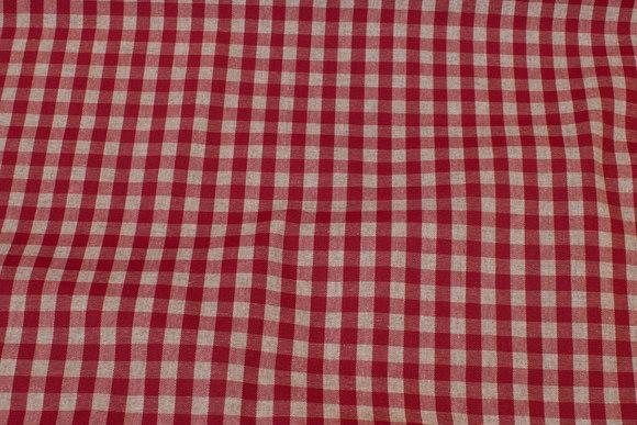 Mørkrød og natur ternet coated textildug