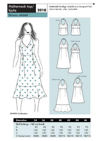 Halterneck top og kjole