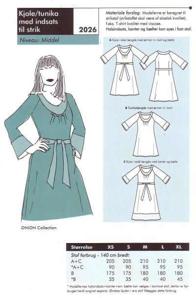 Kjole - tunika med indsats til strik