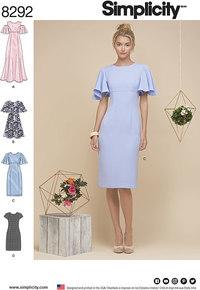 Kjole med svaj-ærmer. Simplicity 8292.
