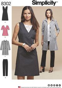 Kjole eller tunika, slank buks og ufoeret frakke. Simplicity 8302.
