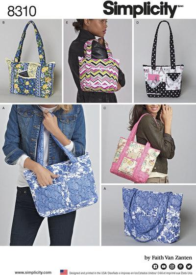 Quiltede tasker i 3 størrelser
