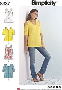 Knit Tops with Bodice and Sleeve Variations. Simplicity 8337.