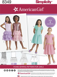 American Girl Child´s Dress and Knit Shrug. Simplicity 8349.