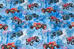 Blå bomuldsjersey med 6-7 cm røde traktorer