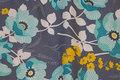 Blågrå bomuld med turkis 6 cm blomster