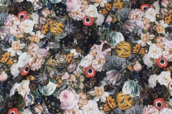 Bomuldsjersey med blomster i støvede nuancer