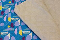 Dobbelsidet bomulds-quilt i turkis mønstret