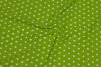 Limegrøn bomuld med hvide 1 cm stjerner