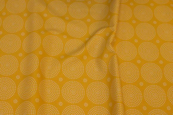 Mørk gul bomuld med hvide 5,5 cirkler
