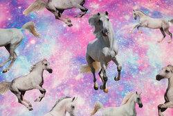 Pink og turkis bomuldsjersey med heste