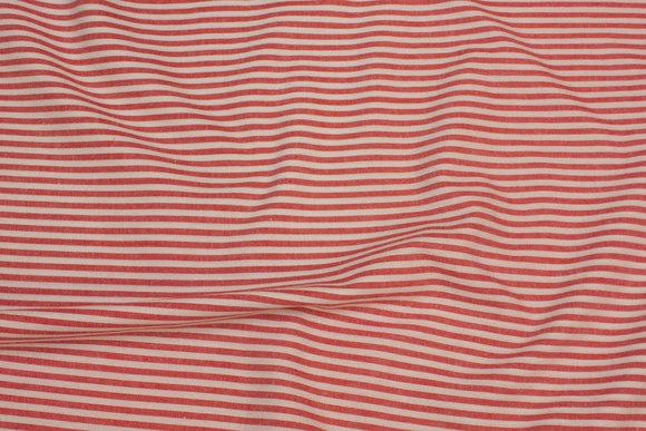 Rød og hvid, smalstribet, gennemvævet let bomuld