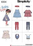 Simplicity 8304. Babies´ Leggings, Top, Dress, Bibs and Headband.