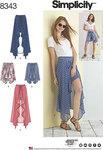 Simplicity 8343. Slå-om nederdel og shorts.