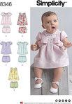 Simplicity 8346. Baby Kjole og underbukser.