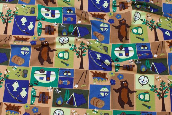 Grøn-blå bomulds-stretch-jersey med skovmotiver