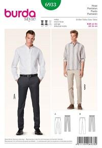 Bukser til mænd, slankt design. Burda 6933.