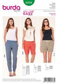 Bukser med elastik, bermuda shorts. Burda 6938.