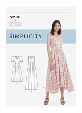 Løs plisseret kjole med længde. Simplicity 9134.