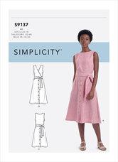 Kjole med krydsning på ryg. Simplicity 9137.
