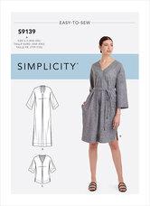 Komfortabel v-hals kjoler. Simplicity 9139.