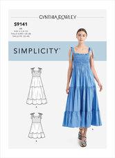 Kjole med plisseret overdel. Simplicity 9141.