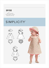 Baby kjole, underbukser, hat. Simplicity 9152.