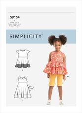 Kjole, Top, Tunika og Gamacher til piger. Simplicity 9154.